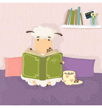 marshmallows: Sheep reading a book and drinking a hot drink with marshmallows