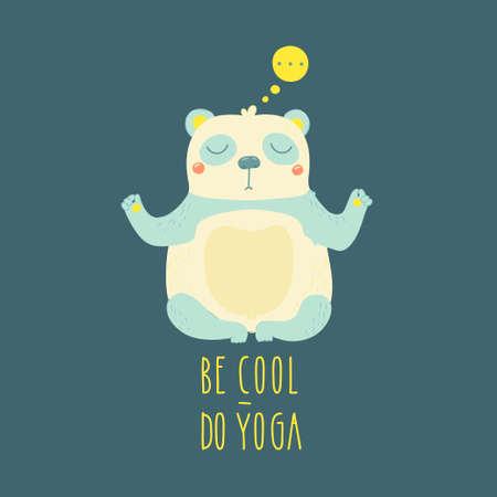 pranayama: Illustration of panda isolated on grey background. Be cool - do yoga!