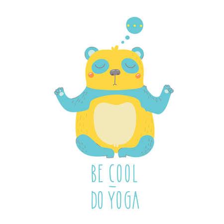 cartoon yoga: Illustration of panda isolated on white background. Be cool - do yoga!