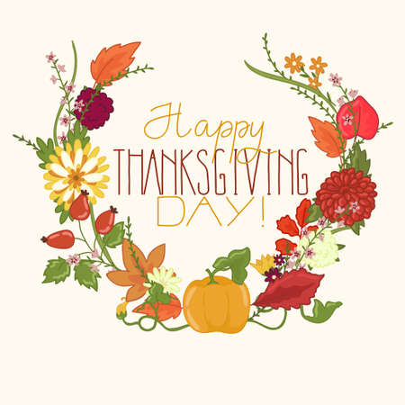 Card for thanksgiving day of flowers and leaves Vector
