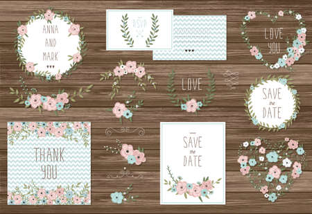 flowers bouquet: Stylish cards collection with floral bouquets and wreath design elements.  Illustration