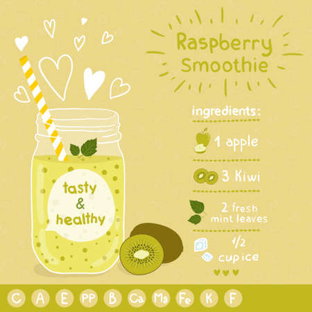 Kiwi smoothie recipe. With illustration of ingredients and vitamin. Doodle style