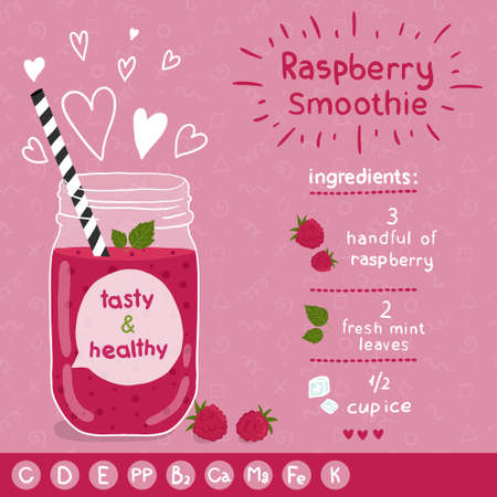 fruit smoothie: With illustration of ingredients and vitamin.  Illustration