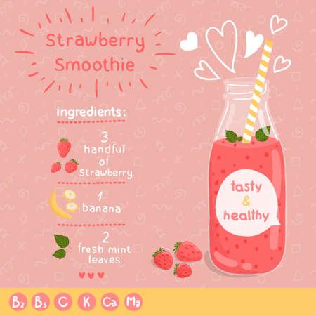 batidos de frutas: Receta de batido de fresa. Vectores