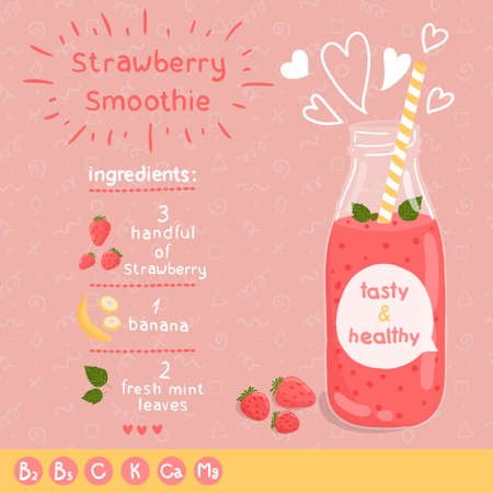 Strawberry smoothie: Strawberry ricetta frullato. Vettoriali
