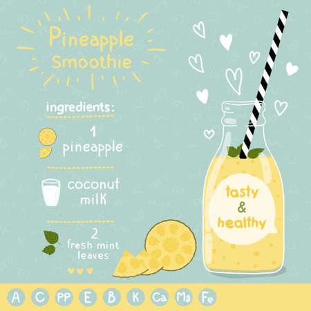 batidos frutas: Con la ilustración de ingredientes y vitaminas.