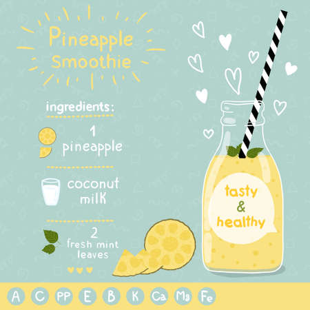 pineapples:  With illustration of ingredients and vitamin.