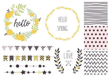 date: Set of vector design elements, including seamless patterns, flags, garlands, borders, wreaths and ribbons. Hand drawn love collection. Valentines day kit.