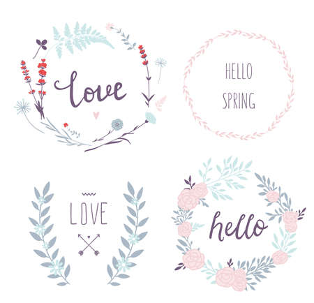 Set of 4 vector design floral wreaths and typography. Hand drawn love collection. Valentines day kit. Set for wedding design. Save the date. Vector