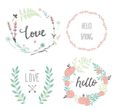 Set of 4 vector design floral wreaths and typography. Hand drawn love collection. Valentines day kit. Set for wedding design. Save the date.