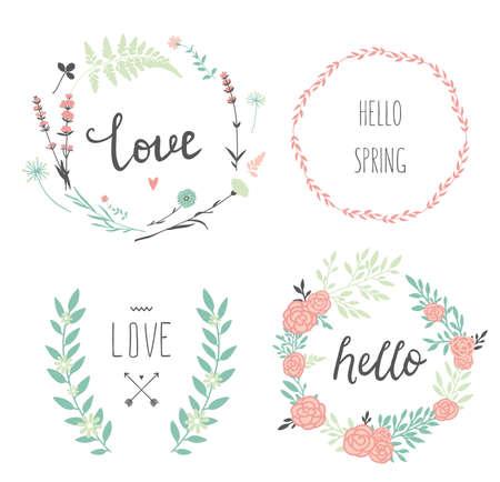 Set van 4 vector design bloemenkransen en typografie. Hand getekende liefde collectie. Valentijnsdag kit. Voor bruiloft design. Sparen de datum.
