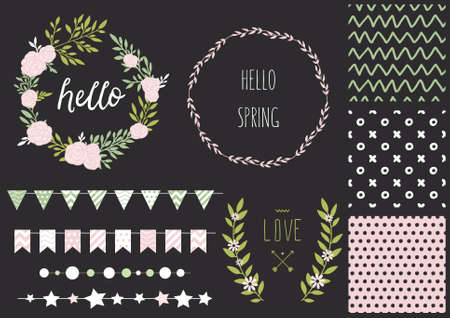 Set of vector design elements, including seamless patterns, flags, garlands, borders, wreaths and ribbons. Hand drawn love collection. Valentines day kit. Vector