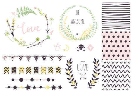 awesome wallpaper: Set of vector design elements, including seamless patterns, flags, garlands, borders, wreaths and ribbons. Hand drawn love collection. Valentines day kit.