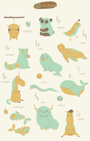 u s: Cute zoo alphabet in vector. O, p, q, r, s, t, u, v, w, x, y, z letters. Isolated illustration of cute animals. Learn English