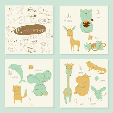 Cute zoo alphabet in vector. A, b, c, d, e, f, g, h, i, j letters. Isolated illustration of cute animals. Learn English Illusztráció