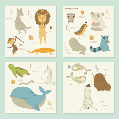 u s: English alphabet for children. K, l, m, o, p, q, r, s, t, u, v, w, x, y, z letters. Bright isolated illustration of cute animals. Learn English