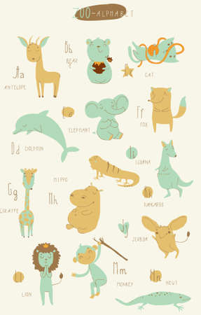Cute zoo alphabet in vector. A, b, c, d, e, f, g, h, i, j, k, l, m, n letters. Isolated illustration of cute animals. Learn English