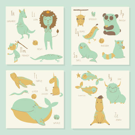 s and m: Cute zoo alphabet in vector. K, l, m, n, o, p, q, r, s, t, u, v, w, x, y, z letters. Isolated illustration of cute animals. Learn English Illustration