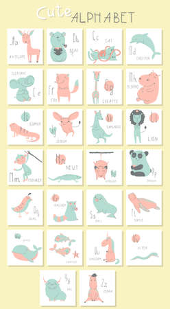 cute animals: Cute zoo alphabet with funny animals in vector. Letters. Isolated illustration of cute animals. Learn English