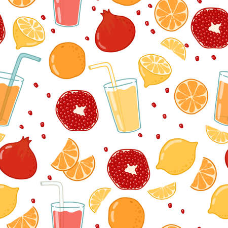 fruits juice: Bright vector seamless background with fruits and fruits juice