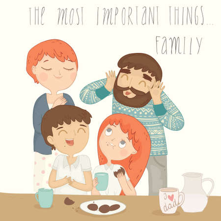 sons: Illustration of a happy family at breakfast.
