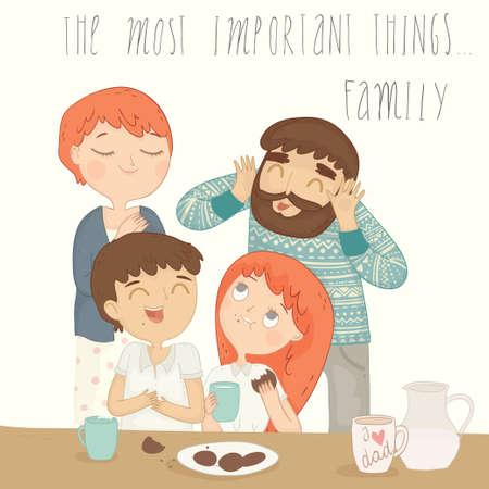 ni�os desayuno: Ilustraci�n de una familia feliz en el desayuno. Vectores