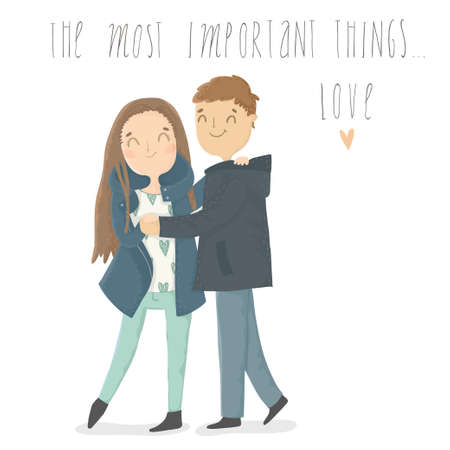 casual dress: Cute cartoon illustration of young woman and man in love. The most important things ...