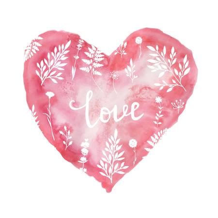 スタイリッシュなバレンタイン カードと水彩ハートのピンク。ベクトル図