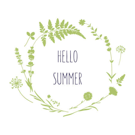 Floral wreath with wild flowers. Hello summer card in vector