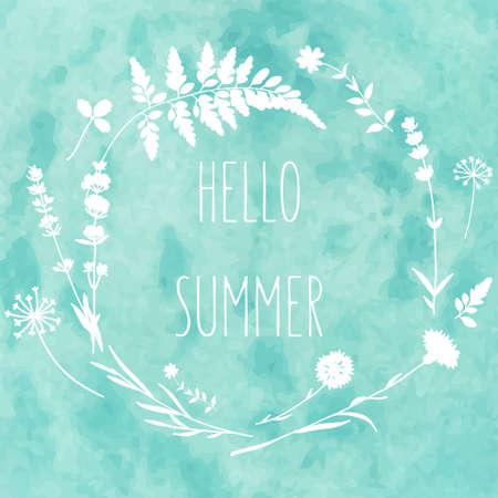 水彩画背景に野生の花と花の花輪。こんにちはベクトルで夏のカード  イラスト・ベクター素材