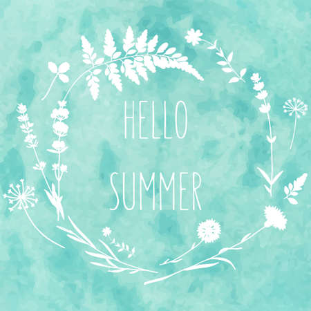 Floral wreath with wild flowers on watercolor background. Hello summer card in vector