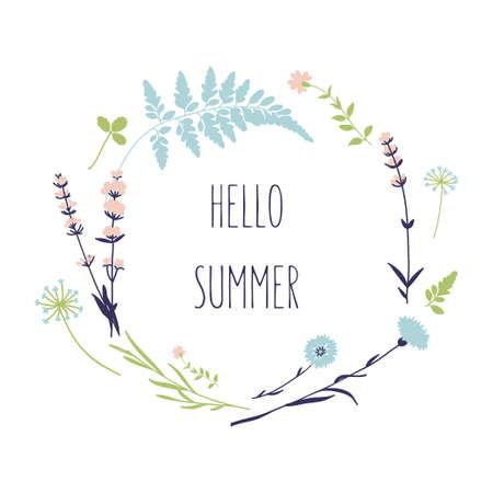 野の花と花の花輪。こんにちはベクトルで夏のカード  イラスト・ベクター素材