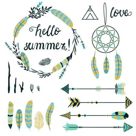 collections: Arrows, wreathes, feathers, Indian elements set. Tribal collection for greeting cards.