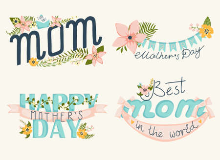 A set of floral design elements with wreaths, ribbons and hearts for mothers day Иллюстрация