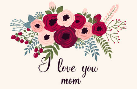 vintage frame vector: Happy mothers day card. Bright spring concept illustration with flowers in vector Illustration