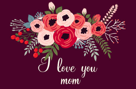 幸せな母の日カード。ベクターの花で明るい春の概念図
