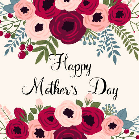 mother: Happy mothers day card. Bright spring concept illustration with flowers in vector Illustration