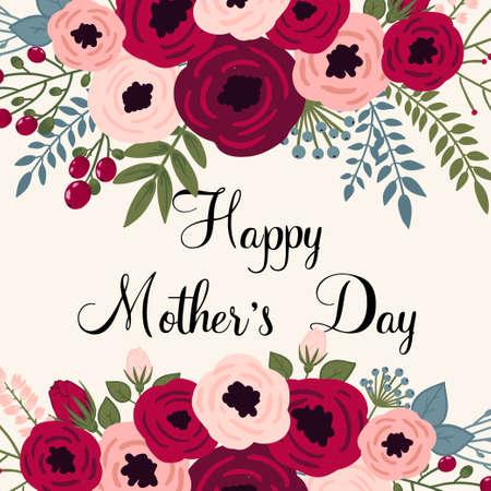 madre: Tarjeta del día de madre feliz. Brillante ilustración del concepto de la primavera con las flores en el vector