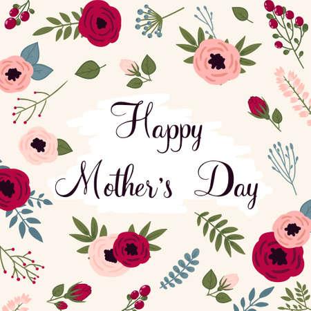 Gelukkige moederdagkaart. Heldere lente concept illustratie met bloemen in vector Stock Illustratie