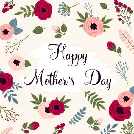 Happy mothers day card. Bright spring concept illustration with flowers in vector Иллюстрация