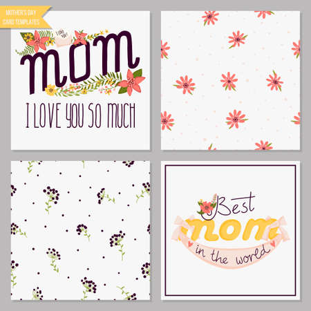 floral elements: Card collection with floral design elements with wreaths, ribbons and hearts for mothers day. Seamless patterns i includes