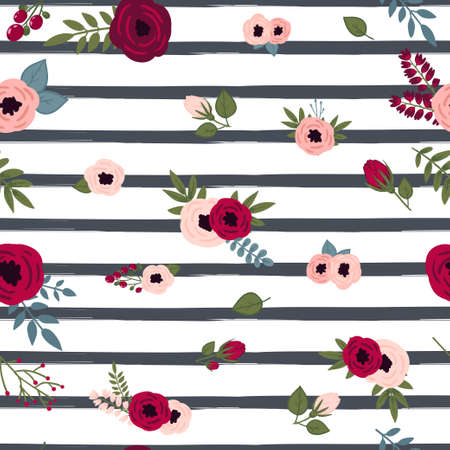 Stripe seamless pattern background with floral vintage peony flowers on it.