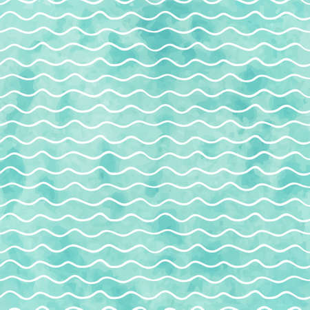 sea waves: Seamless geometric watercolor wave pattern on paper texture