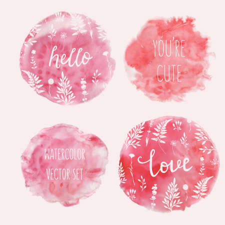 Watercolor splatters with typography and floral ornament. Vector Illustration