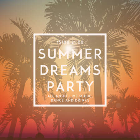 holiday party background: Summer day background with palm tree. Minimalistic multifunctional media backdrop. Vector. Editable. Summer dreams