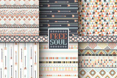 tribales: Conjunto de 6 patrones sin fisuras �tnicas. Fondo geom�trico tribal. Tela de moda con estilo. Papel pintado abstracto moderno. Ilustraci�n del vector.