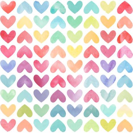 Naadloze kleurrijke aquarel geschilderd hart patroon. Valentijnsdag achtergrond. Vector illustratie