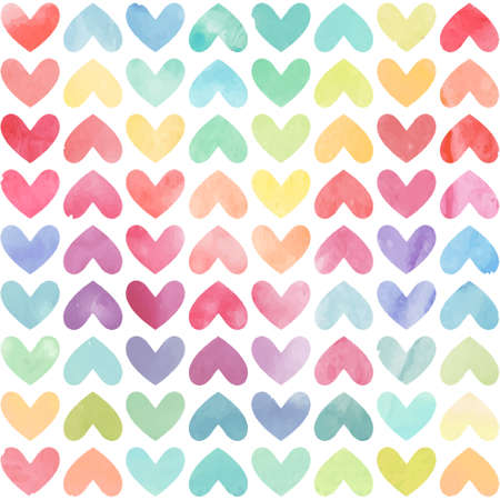 Seamless colorful watercolor painted hearts pattern. Valentines day background. Vector illustration Çizim