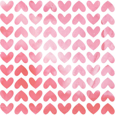 Stylish Valentine's day card with pink watercolor hearts. Vector illustration