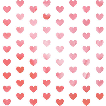 lovely couple: Seamless pink watercolor painted hearts pattern. Valentines day background. Vector illustration